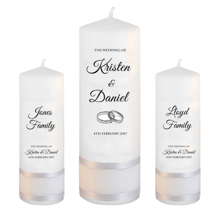 Wedding Unity Candle Set Formal Font 5 Silver Rings