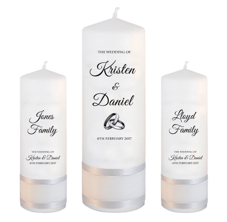 Wedding Unity Candle Set Formal Font 5 Silver Rings Upright