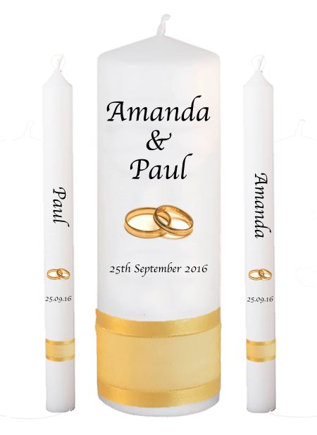 Wedding Candle Set Lighting Classic Font 1 Gold Rings
