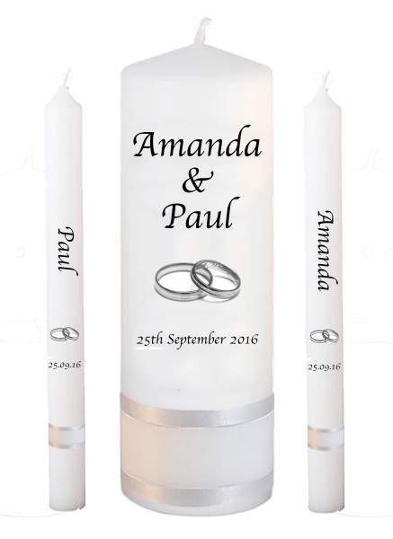 Wedding Candle Lighting Set Font 1 silver rings