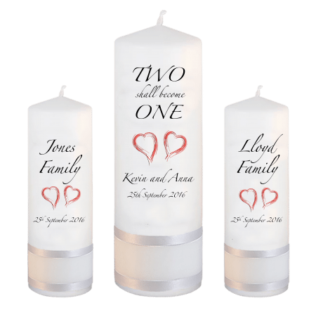 Wedding Unity Candle Set Inscription Font 3 Red Hearts