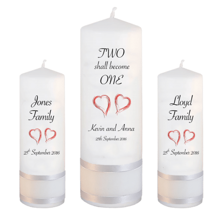 Wedding Unity Candle Set Inscription Font 4 Red Hearts