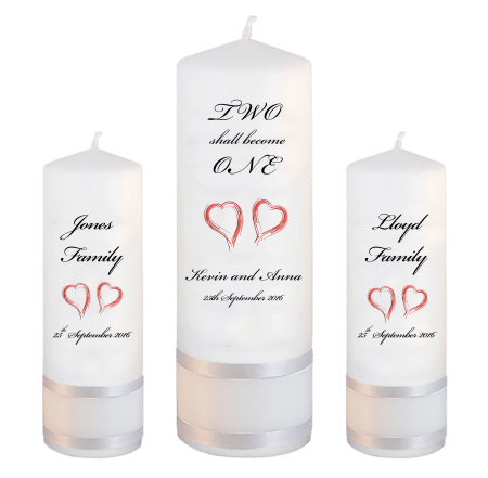 Wedding Unity Candle Set Inscription Font 5 red hearts