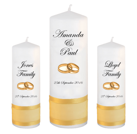 Wedding Unity Candle Set Classic Font 2 Gold Rings