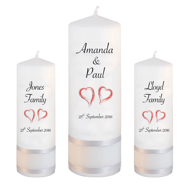 Wedding Candles Unity Set Classic Font 4 red hearts