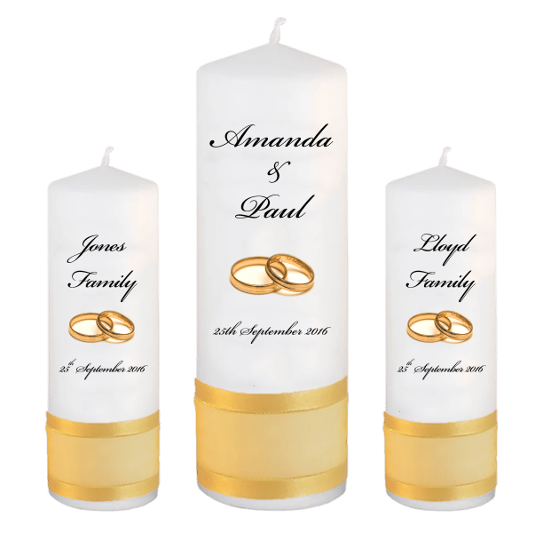 Wedding Candles Unity Set Classic Font 5 gold rings