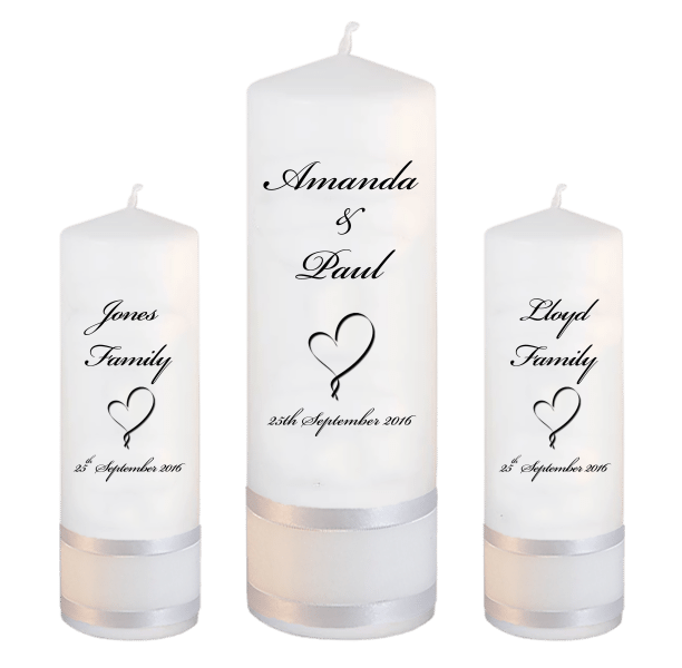 Wedding Candles Unity Set Classic Font 5 heart