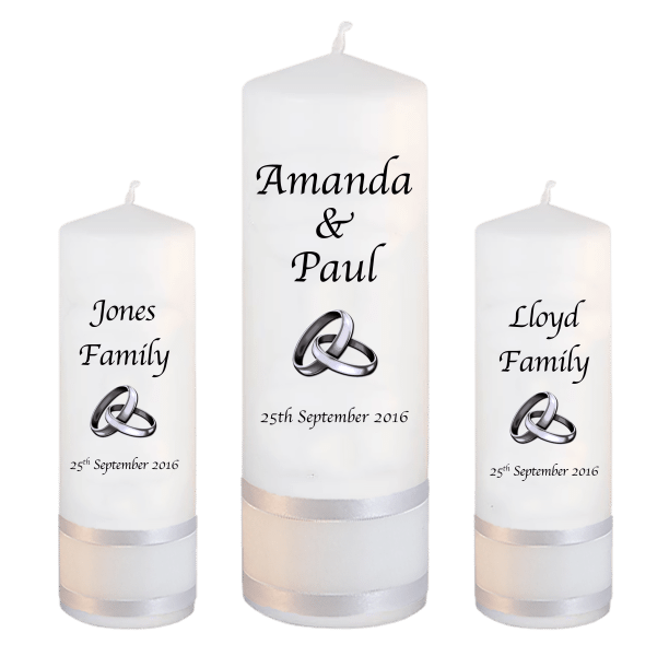 Wedding Candles Unity Set Font 1 silver rings upright