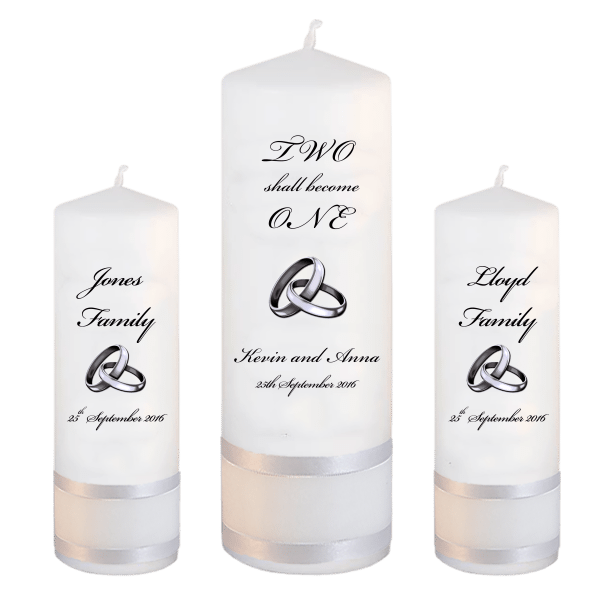Wedding Unity Candle Set Inscription Font 5 Silver Rings Upright