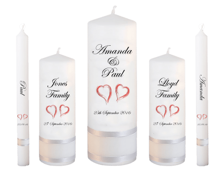 Wedding Candle Set Deluxe Classic Font 2 Red Hearts