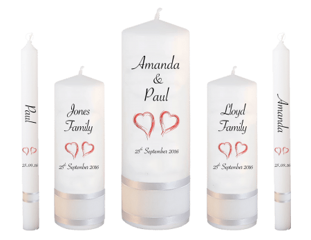 Wedding Candle Set Deluxe Classic Font 4 Red Hearts