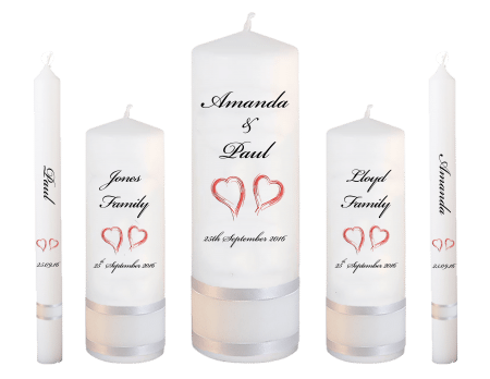 Wedding Candle Set Deluxe Classic Font 5 Red Hearts