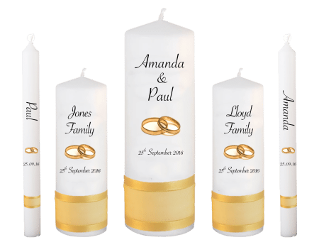 Wedding Candle Set Deluxe Classic Font 4 Gold Rings