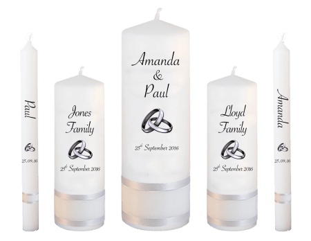 Wedding Candle Set Deluxe Classic Font 4 Silver Rings Upright