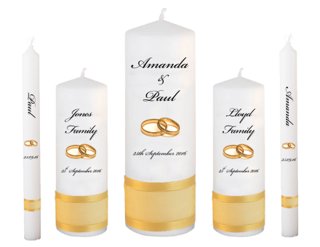 Wedding Candle Set Deluxe Classic Font 5 Gold Rings