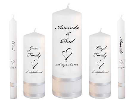 Wedding Candle Set Deluxe Classic Font 5 Heart