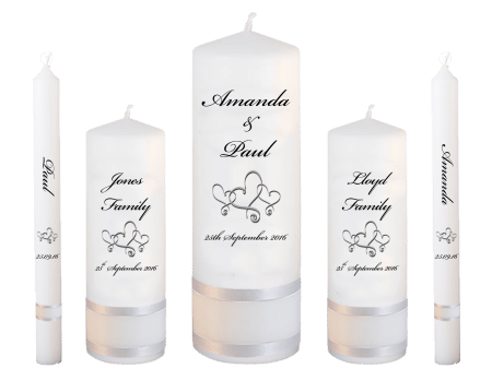 Wedding Candle Set Deluxe Classic Font 5 Hearts