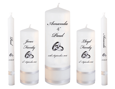 Wedding Candle Set Deluxe Classic Font 5 Silver Rings Upright
