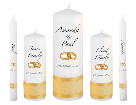 Wedding Candle Set Deluxe Classic Font 3 Gold Rings