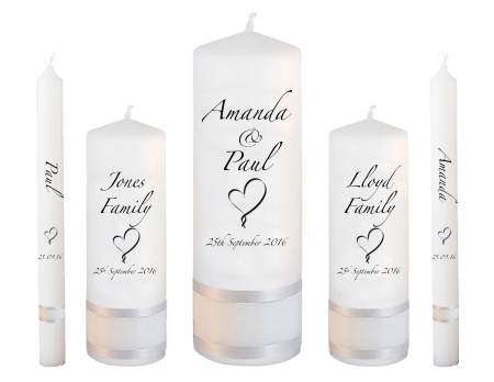 Wedding Candle Set Deluxe Classic Font 3 Heart