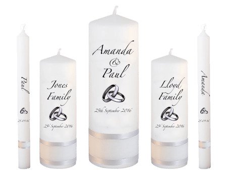 Wedding Candle Set Deluxe Classic Font 3 Silver Rings Upright