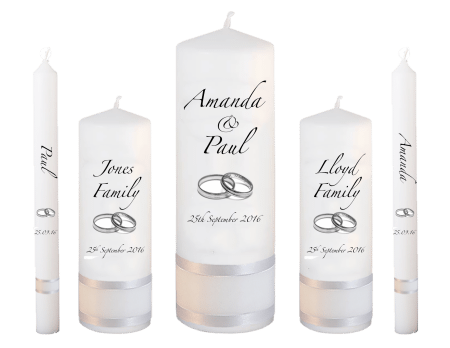 Wedding Candle Set Deluxe Classic Font 2 Silver Rings