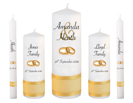 Wedding Candle Set Deluxe Modern Font 4 Gold Rings