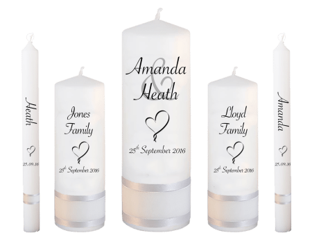 Wedding Candle Set Deluxe Modern Font 4 Heart