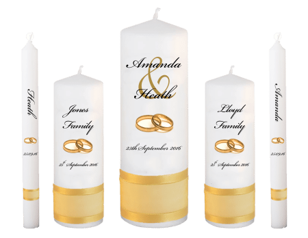 Wedding Candle Set Deluxe Modern Font 5 Gold Rings