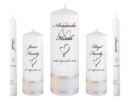Wedding Candle Set Deluxe Modern Font 5 Heart