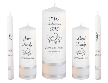 Wedding Candle Set Deluxe Inscription Font 4 Hearts