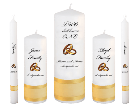 Wedding Candle Set Deluxe Inscription Font 5 Gold Rings Upright