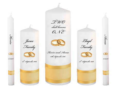 Wedding Candle Set Deluxe Inscription Font 5 Gold Rings