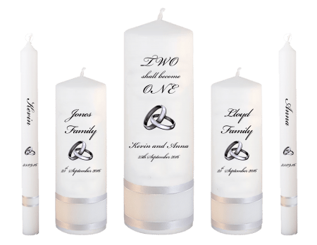 Wedding Candle Set Deluxe Inscription Font 5 Silver Rings Upright