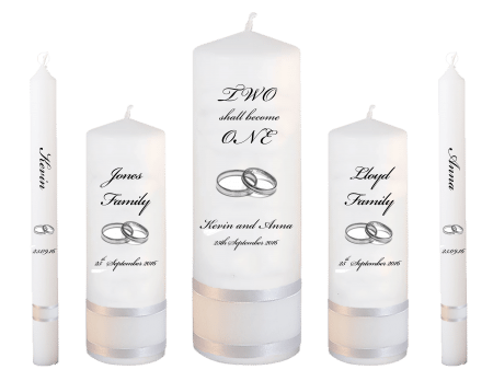 Wedding Candle Set Deluxe Inscription Font 5 Silver Rings