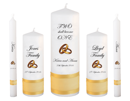 Wedding Candle Set Deluxe Inscription Font 2 Gold Rings Upright