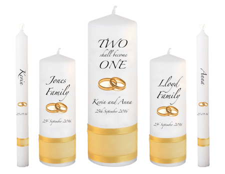 Wedding Candle Set Deluxe Inscription Font 3 Gold Rings