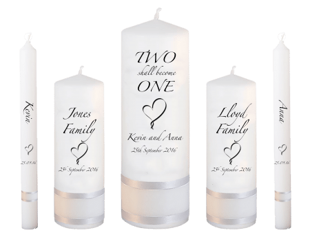 Wedding Candle Set Deluxe Inscription Font 3 Heart