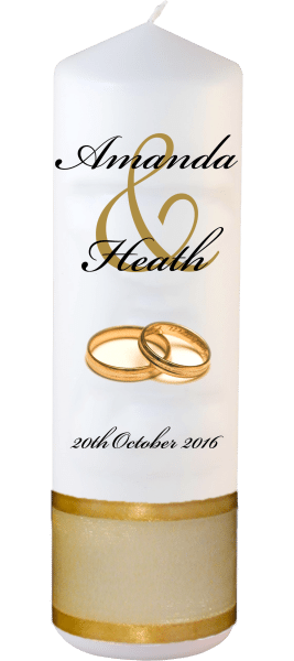 Wedding Candles Modern Design font 5 gold rings