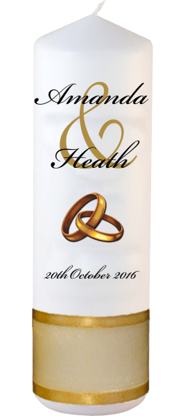 Wedding Candles Modern Design font 5 gold rings upright