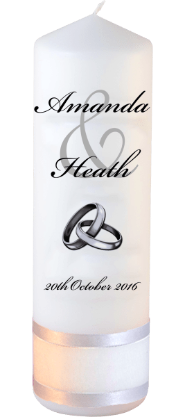 Wedding Candles Modern Design font 5 silver rings upright
