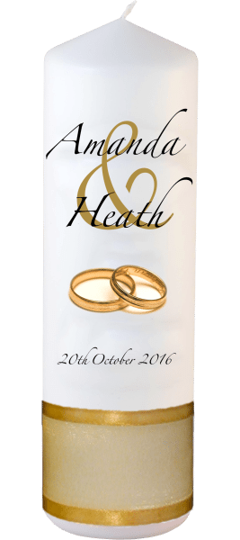 Wedding Candles Modern Design font 3 gold rings