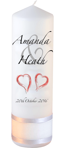 Wedding Candles Modern Font 3 Red Hearts