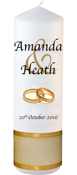 Wedding Candles Modern Design font 1 gold rings