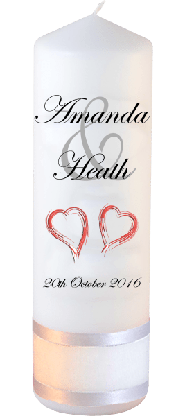 Wedding Candles Modern Font 2 Red Hearts