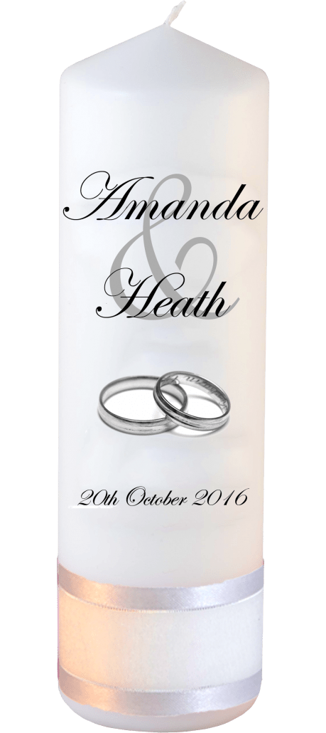 Wedding Candles Modern Font 2 Silver Rings