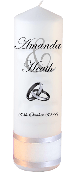 Wedding Candles Modern Design font 2 silver rings upright