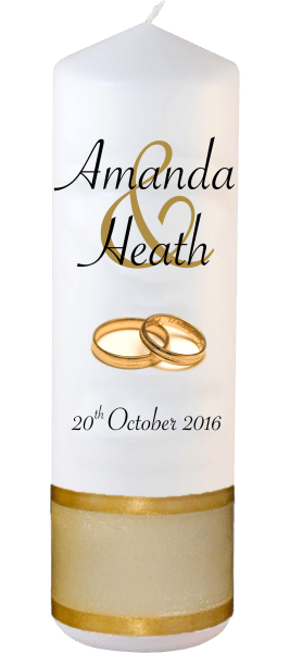 Wedding Candles Modern Design font 4 gold rings