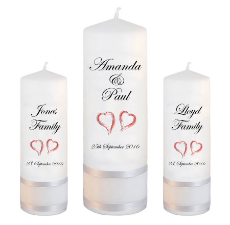Wedding Unity Candle Set Classic Font 2 Red Hearts