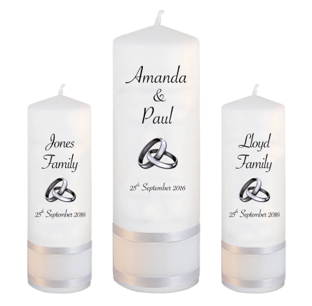 Wedding Unity Candle Set Classic Font 4 Silver Rings Upright